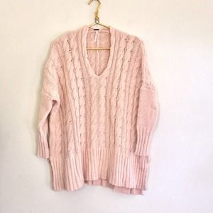 Free People slouchy Oversized sweater in pink cozy